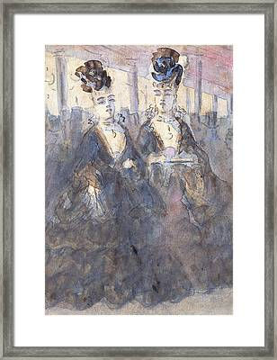 Two Lorettes At The Theater Framed Print by Constantin Guys