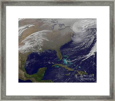 Two Low Pressure Systems Merge Together Framed Print by Stocktrek Images