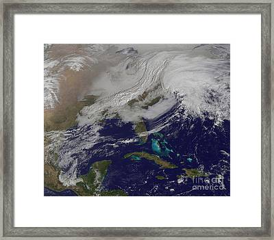 Two Low Pressure Systems Merging Framed Print by Stocktrek Images