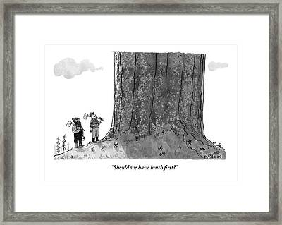 Two Lumberjacks With Axes Stare Up At A Giant Framed Print by Jason Patterson