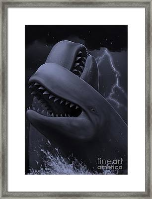 Two Male Livyatan Whales Fighting Framed Print