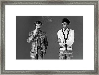 Two Male Models Wearing 1970s Style Clothing Framed Print