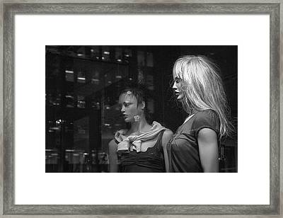 Two Mannequins In Shop Window Display Framed Print