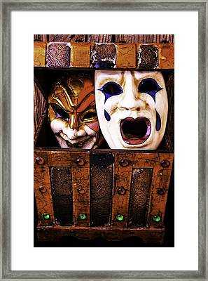 Two Masks In Box Framed Print