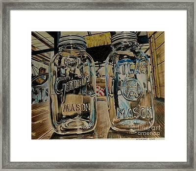 Two Mason Jars Framed Print by Jackie Bryant