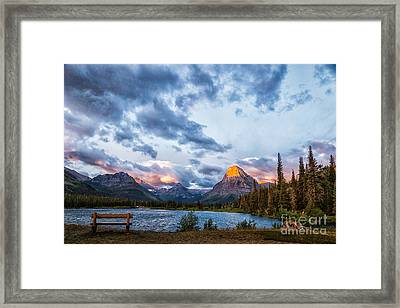 Framed Print featuring the photograph Two Medicine Lake Sunrise by Sophie Doell