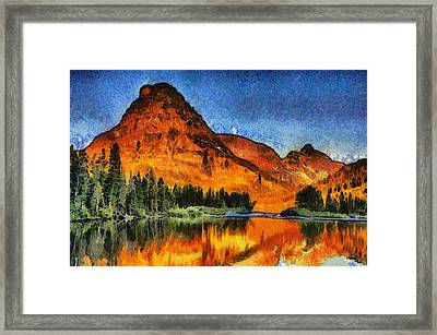 Two Medicine Sunrise - Digital Painting Framed Print by Mark Kiver