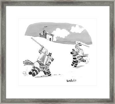 Two Medieval Knights Joust On Pinatas Framed Print by Liam Walsh