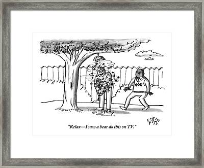 Two Men Are Seen In A Backyard Framed Print