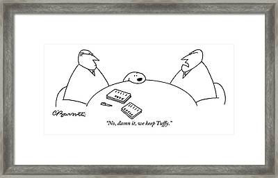 Two Men Are Seen Sitting At A Table With Papers Framed Print by Charles Barsotti