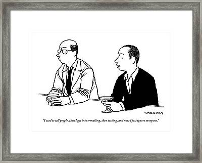 Two Men Are Seen Speaking With Each Other Framed Print