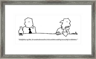 Two Men Are Seen Talking At A Bar Framed Print