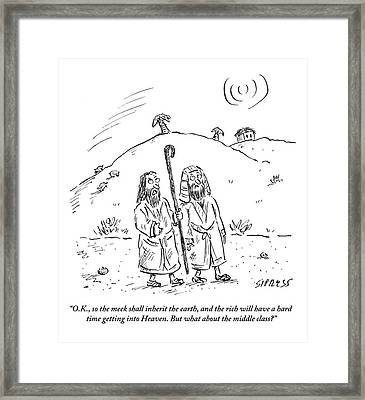 Two Men Are Seen Walking In The Desert And One Framed Print by David Sipress
