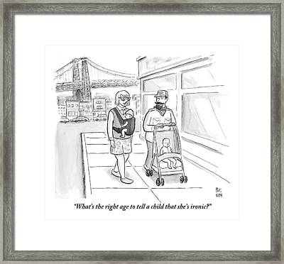 Two Men Are Wearing Ironic Clothes And Walking Framed Print by Paul Noth