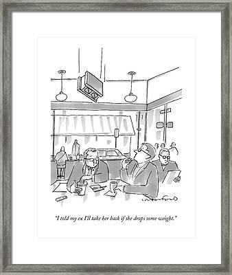 Two Men At A Restaurant Table Framed Print
