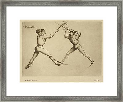 Two Men Fencing Framed Print by British Library