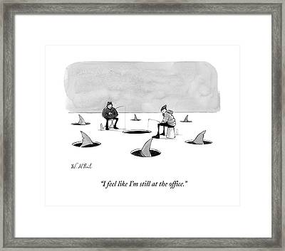 Two Men Ice Fishing Framed Print by Will McPhail