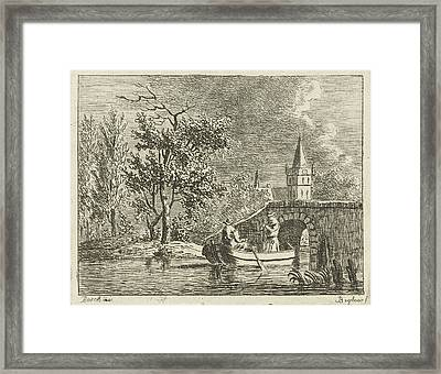 Two Men In A Rowing Boat Directly Behind A Stone Bridge Framed Print