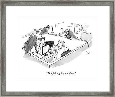Two Men In A Small Cubicle Speak To Each Other Framed Print