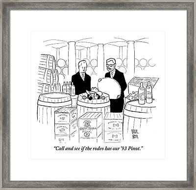 Two Men In A Wine Cellar Find A Clown In One Framed Print by Paul Noth