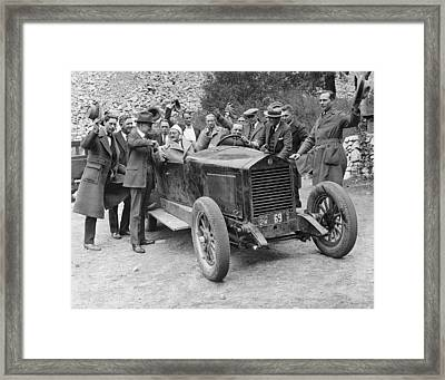 Two Men In An Essex Race Car Framed Print by Underwood Archives