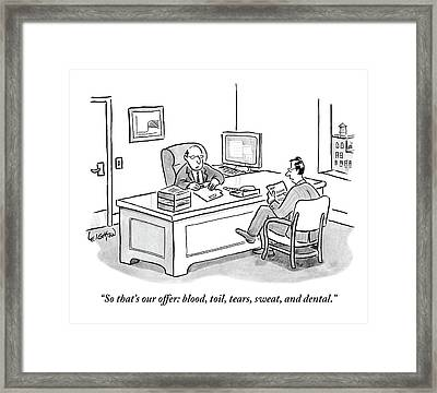 Two Men In An Office. One Is Sitting Framed Print
