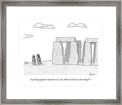 Two Men In Robes Chat Beside Stonehenge Framed Print by Zachary Kanin