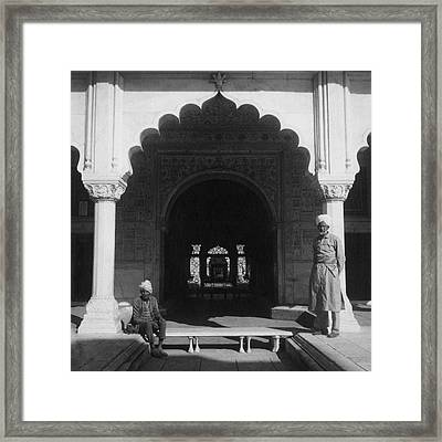 Two Men In The Courtyard Of Red Fort In Delhi Framed Print by Cecil Beaton