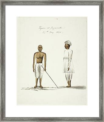 Two Men In Traditional Clothes Framed Print by British Library