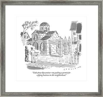 Two Men Look At A House That Is Built Framed Print