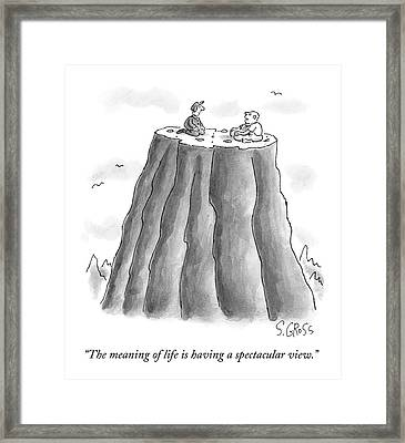 Two Men On Top Of The Plateau Of A Large Mountain Framed Print