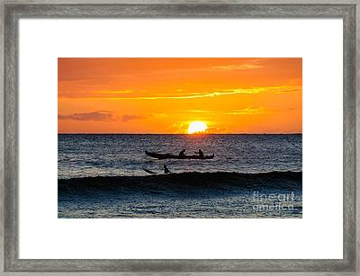 Two Men Paddling A Hawaiian Outrigger Canoe At Sunset On Maui Framed Print
