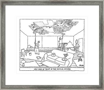 Two Men Paint The Ceiling Of An Apartment Framed Print