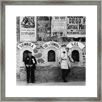 Two Men Posing By A Wall Covered In Spanish Framed Print