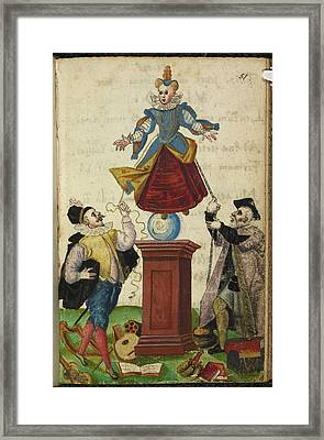 Two Men Pulling The Strings Of A Puppet Framed Print by British Library