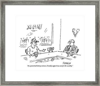 Two Men Sit At A Bar. The Scruffy One Says Framed Print