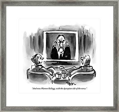 Two Men Sit In Chairs While Watching The News Framed Print