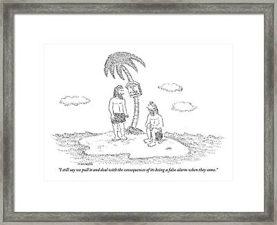Two Men Sitting On An Island Framed Print