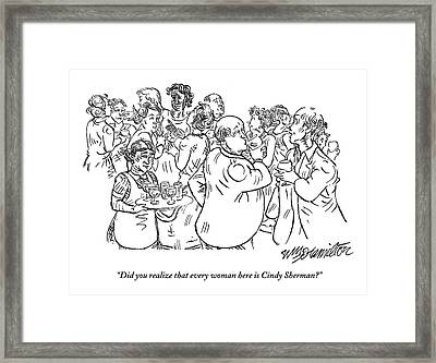 Two Men Speak At A Party: Did You Realize Every Framed Print by William Hamilton