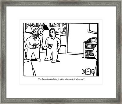 Two Men Speaking On Left Side Of Frame. They're Framed Print by Bruce Eric Kaplan