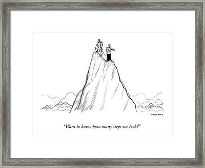 Two Men Stand At The Peak Of A Mountain.  One Man Framed Print by Alex Gregory