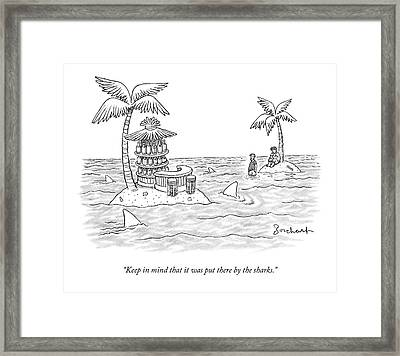 Two Men Stand On A Desert Island Framed Print