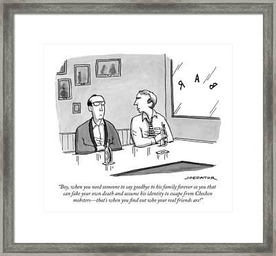 Two Men Talk In A Bar Framed Print by Joe Dator