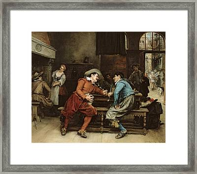 Two Men Talking In A Tavern Framed Print by Jean Charles Meissonier