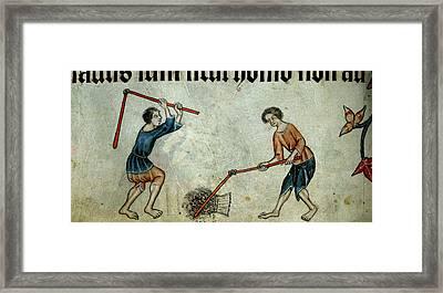 Two Men Threshing Sheaf Framed Print