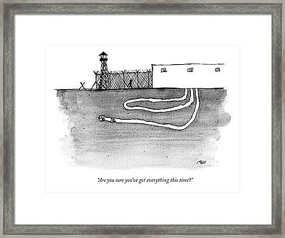 Two Men Tunnel Out Of A Prison. We Can See Framed Print