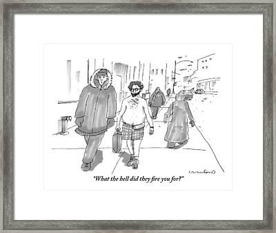 Two Men Walk Down The Sidewalk Together: One Framed Print by Michael Crawford