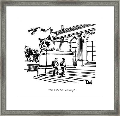 Two Men Walk Into A Library.  There Is An Framed Print by Drew Dernavich