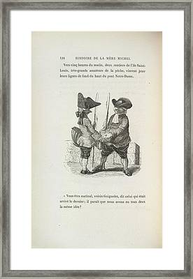 Two Men With Fishing Rods Framed Print by British Library