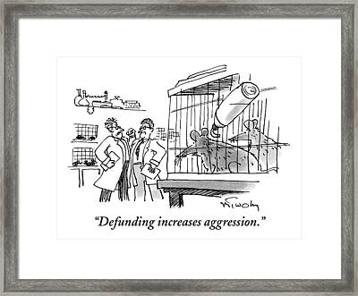 Two Mice In A Cage Watch Two Scientists Argue Framed Print